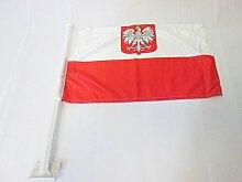 AZ FLAG AUTOFAHNE Polen MIT Adler 45x30cm -