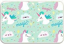 azfvveu Magic Cartoon Einhorn Fußmatte Fußmatte