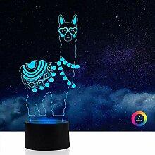 Azimom 3D-Illusions-Lampe, Nachtlicht, 7 Farben,