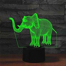 AZIMOM 3D-Illusionslampe, Elefanten-Nachtlicht, 7