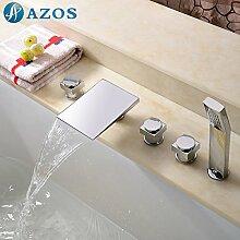 azos Badewanne Armaturen chrom Deck Mount Hot Cold Mixer Spritze Duschkopf Griffe fontänenmöglichkeiten Ventile ygwj080