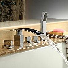 azos Badewanne Armaturen chrom Deck Mount Hot Cold Mixer Spritze Duschkopf Griffe fontänenmöglichkeiten Ventile ygwj014
