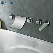 azos Badewanne Armaturen chrom Deck Mount Hot Cold Mixer Spritze Duschkopf Griffe fontänenmöglichkeiten Ventile ygwj021
