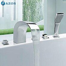 azos Badewanne Armaturen chrom Deck Mount Hot Cold Mixer Spritze Duschkopf Griffe fontänenmöglichkeiten Ventile ygwj024
