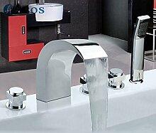 azos Badewanne Armaturen chrom Deck Mount Hot Cold Mixer Spritze Duschkopf Griffe fontänenmöglichkeiten Ventile ygwj037