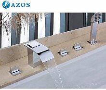 azos Badewanne Armaturen chrom Deck Mount Hot Cold Mixer Spritze Duschkopf Griffe fontänenmöglichkeiten Ventile ygwj030