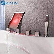 azos Badewanne Armaturen LED Chrom Deck Mount Hot Cold Mixer Spritze Duschkopf Griffe fontänenmöglichkeiten Ventile ygwj082
