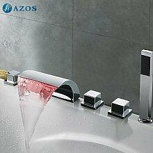 azos Badewanne Armaturen LED Chrom Deck Mount Hot Cold Mixer Spritze Duschkopf Griffe fontänenmöglichkeiten Ventile ygwj005
