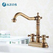 azos Badezimmer Waschbecken Wasserhahn 2Löcher Messing antik messing Deck Mount Hot Cold Water Mischbatterie WC-Becken Wasserhahn mpek009