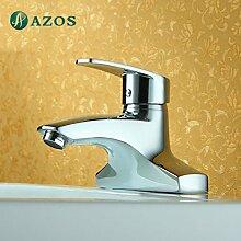azos Badezimmer Waschbecken Wasserhahn 2Löcher Messing Chrom Polish Deck Mount Hot Cold Water Mischbatterie WC-Becken Wasserhahn mpek011