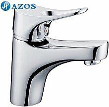 azos Badezimmer Waschbecken Wasserhahn Messing Chrom poliert Farbe Single Loch Deck Mount Hot und Cold Mixer mpdkz081