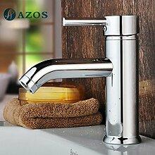 azos Badezimmer Waschbecken Wasserhahn Messing Chrom poliert Farbe Single Loch Deck Halterung Hot und Cold Mixer mpdkz057–1
