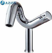 azos Badezimmer Waschbecken Wasserhahn Messing Chrom poliert Farbe Single Loch Deck Mount Hot und Cold Mixer mpdkz152C