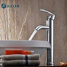 azos Badezimmer Waschbecken Wasserhahn Messing Chrom poliert Farbe Single Loch Deck Mount Hot und Cold Mixer mpdkz122