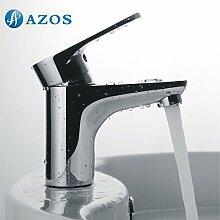 azos Badezimmer Waschbecken Wasserhahn Messing Chrom poliert Farbe Single Loch Deck Mount Hot und Cold Mixer mpdkz083