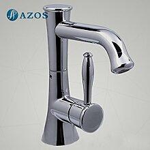 azos Badezimmer Waschbecken Wasserhahn Messing Chrom poliert Farbe Single Loch Deck Mount Hot und Cold Mixer mpdkz045