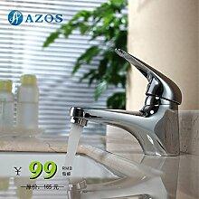 azos Badezimmer Waschbecken Wasserhahn Messing Chrom poliert Farbe Single Loch Deck Mount Hot und Cold Mixer mpdkz068