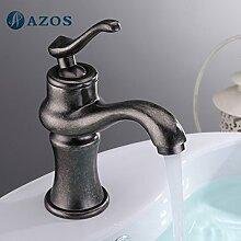 azos Badezimmer Waschbecken Wasserhahn Messing Öl eingerieben Bronze Single Loch Deck Mount Hot und Cold Mixer mpdkz176
