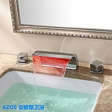 AZOS Bathroom Sink Faucets LED Light Chrome Polished Widespread Waterfall Mixer Taps