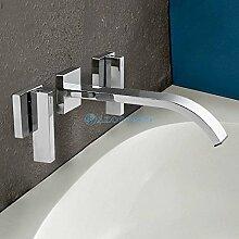 AZOS Modern Bathroom Basin Faucets 2 Handles Chrome Polish Silver Wall Mounted Centerset Waterfall Mixer Taps