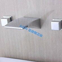 AZOS Modern Bathroom Sink Taps 2 Handles Chrome Polish Silver Brass Wall Mounted Widespread Waterfall Basin Mixer Fauce