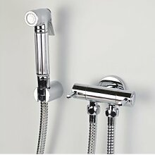 AZOS Wall Mounted Hand Held Bidet Diaper Sprayer Shattaf Toilet Faucet Sets Bathroom Shower Furnitures Replacement Chrome Polish Single Cold Water FXQ001