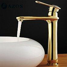 azos Waschbecken Wasserhahn Messing Golden Farbe Single Loch Deck Mount Hot Cold Mixer WC-Becken Wasserhahn mpxl017g