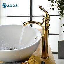azos Waschbecken Wasserhahn Messing Golden Farbe Single Loch Deck Mount Hot Cold Mixer WC-Becken Wasserhahn mpxl005g-2