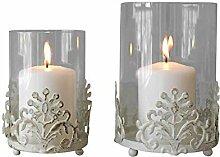 Azure Cy Vintage Schmiedeeisen Kerzenhalter, Glas