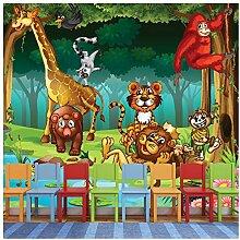 azutura Dschungel Tiere Fototapete Löwe Giraffe