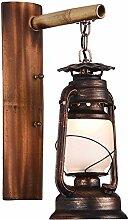 AZWE Loft Vintage Wandlampe Eisen und Bambus