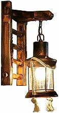 AZWE Vintage Holz E27 Wandlampe mit Glasschirm