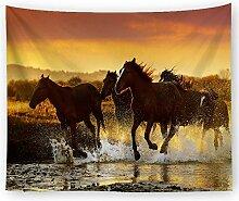 AZZXZONa Running Horse Tapisserie, Hippie Esstisch