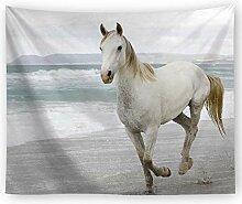 AZZXZONa Weißes Pferd Tapisserie, Hippie Esstisch