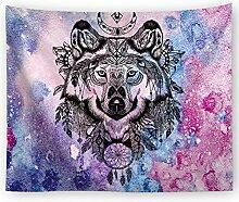 AZZXZONa Wolf Kopf Wandteppich, Schlafzimmer