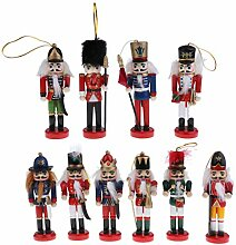 B Blesiya 10stk. Mini Nussknacker Deko Figur Puppe