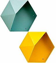 B Blesiya 2 STK. Hexagon Wandregal mit Holzablagen