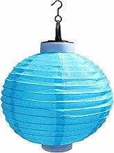 B Blesiya Lampion Form Solarleuchte Solar Hängeleuchte außen Waaserdicht Wegeleuchten Außenleuchte Solarlampe für Flur, Garten, Zaun - Blau, 25x33cm