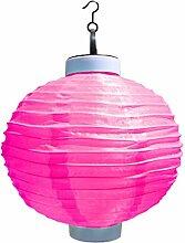 B Blesiya Lampion Form Solarleuchte Solar Hängeleuchte außen Waaserdicht Wegeleuchten Außenleuchte Solarlampe für Flur, Garten, Zaun - Rot, 25x33cm