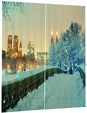 B Blesiya Schnee Stadt Blickdicht Kräuselband