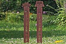 B Gartenstab Willkommen Gartendeko Eisen Motiv