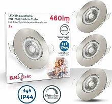 B.k.licht - 3x LED Einbaustrahler Bad Spot dimmbar