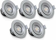 B.K.Licht I 5er Set schwenkbare LED Einbaustrahler