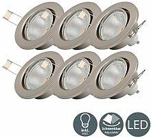 B.K.Licht I 6er Set schwenkbare LED Einbaustrahler