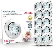 B.K.Licht,LED Einbaustrahler 10 St., -flg. /,