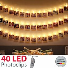 B.K.Licht LED Fotolichterkette I 40 LED Photoclips