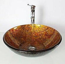 B&S Gelbe Runde Hartglas Waschbecken Bambus Wasserhahn, Pop-Drain und montieren Sie den ring