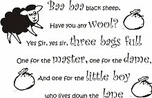 Baa Baa BlackSheep Kinderlied Wand Zitat Kinderzimmer Junge Mädchen Aufkleber 100x 60cm hellrosa