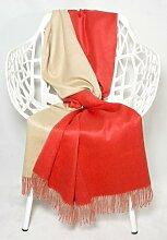 Baby Alpaka Decke Wolldecke Kuscheldecke Alpakadecke Doubleface 130x180cm - Kollektion Colour - Doppelseitig Orange / Beige