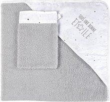 Baby-Badetuch aus Baumwolle, grau und weiß